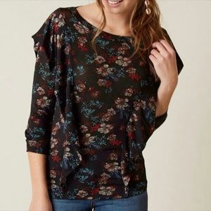Free People NWT Dock Street Black Combo Floral Top